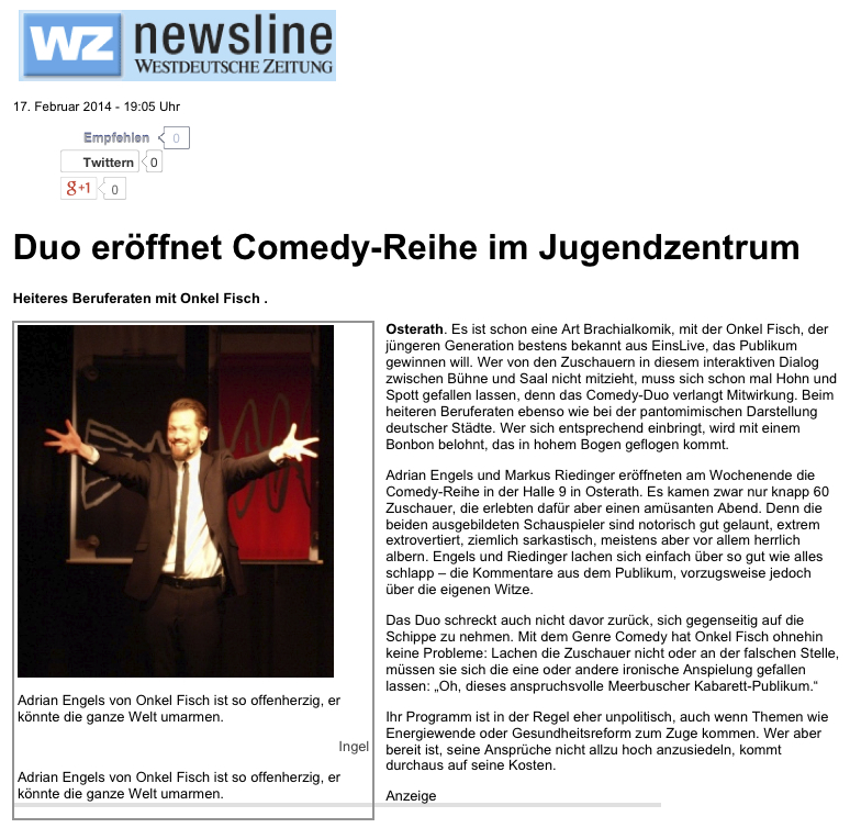 Duo eröffnet Comedy-Reihe