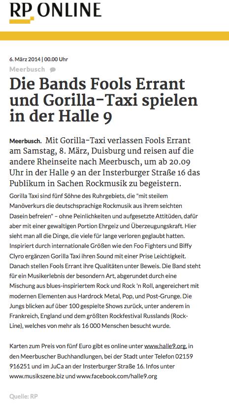 Meerbusch: Die Bands Fools Errant und Gorilla-Taxi spielen in der Halle 9