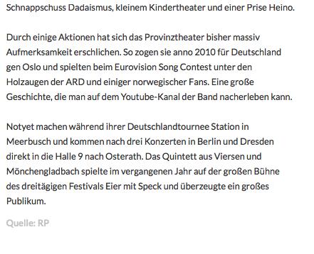 Das Wochenende: Provinztheater spielen am Samstag in Halle 92